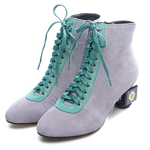 NSXZ Cuero genuino de la manera de las mujeres Scrub Side Zipper High Heeled Boots , gray , 37 36-GRAY