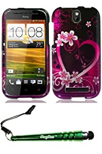 HTC One SV Purple Love Case Cover Protector Include FoxyCase Stylus cas couverture