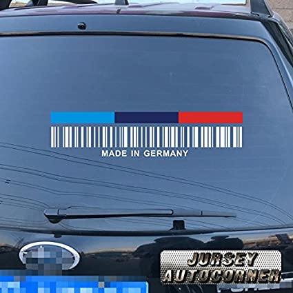 One MADE IN GERMANY White Barcode Vinyl Car Window Bumper Safety Decal Sticker