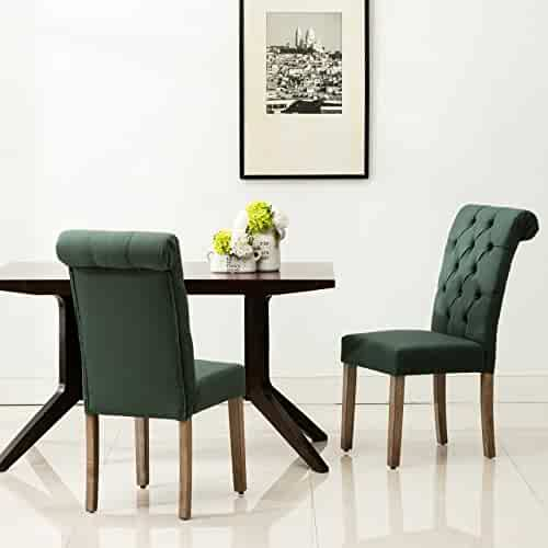 896e5051f7 HomeRoots Wood  Polyester  Foam Roll Top Tufted Green Linen Fabric Modern  Dining Chair (