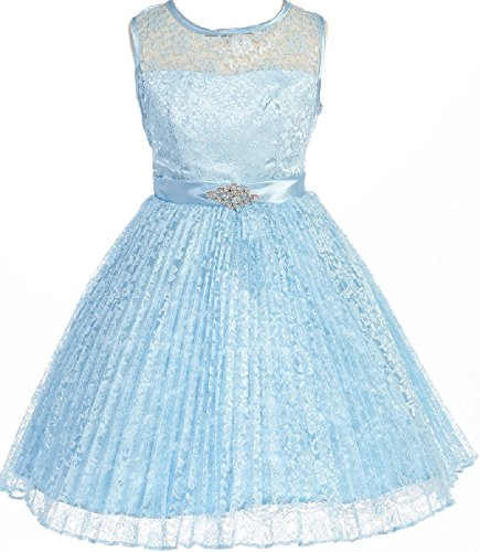 Collection Bridesmaid Dress - Little Girl Lace Overlaid Rhinestones Junior Bridesmaid Special Occasion Dress Baby Blue 6 (35G27G)