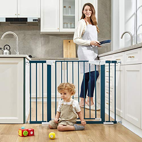 """51yHBt3e7cL Cumbor 46""""Baby Gate for Stairs and Doorways, Extra Tall and Wide Auto Close Safety Child Gate, Easy Walk Thru Durable Dog Gate for The House. Includes (2)2.75-Inch and 8.25-Inch Extension(Blue)    Product Description"""