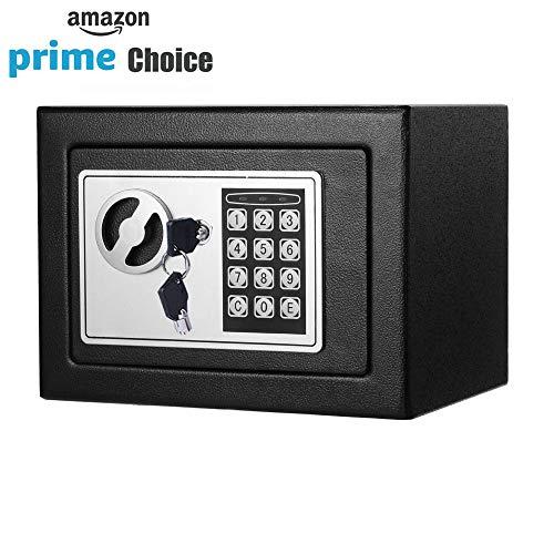 Safe Box, Dorlfin Digital Small Safe Steel Electronic Safe Deposit Box with Lock Keypad for Money Jewelry Security Cabinet Black ()