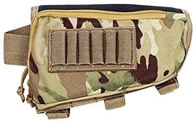 Tactical Sharpshooter Rifle Stock Pack | Cheek Pad | Buttstock Ammo Holder | Zippered Utility Pouch