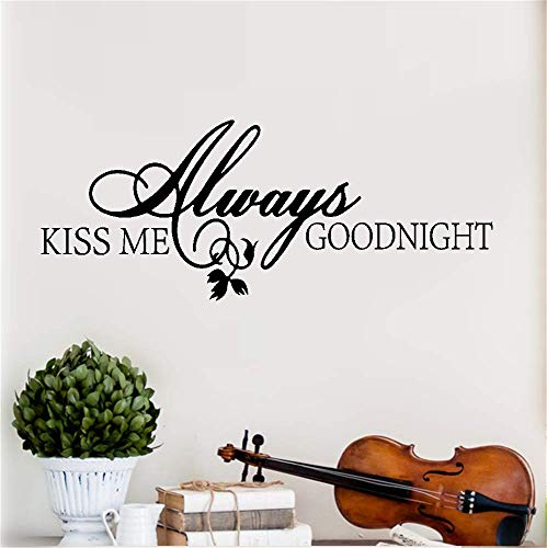 (Opiuse Vinyl Wall Art Inspirational Quotes and Saying Home Decor Decal Sticker Always Kiss Me Goodnight for Bedroom Nursery Kids Room)