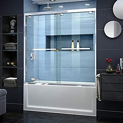 DreamLine Encore 56-60 in. W x 58 in. H Frameless Semi-Frameless Bypass Tub Door in Chrome, SHDR-1660580-01