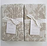Pottery Barn JACQUARD MEDALLION Euro Shams ~~Set of Two~~Ivory/Flax/Neutral~
