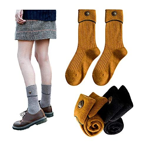 Women's Casual Wool Knitted Crew Socks&Turn Cuff Ruffle Socks for Women 5-10(Pack of 4)