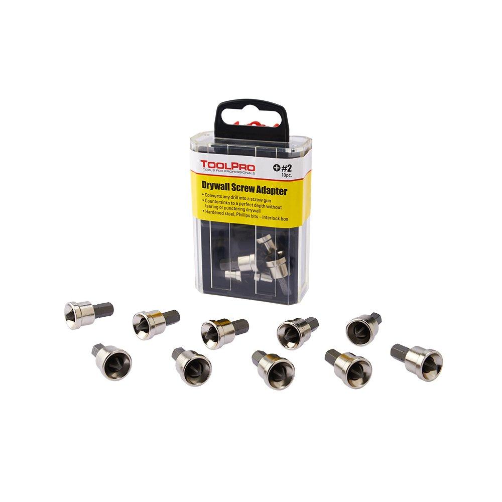 ToolPro Drywall Screw Adapter (10 Pack) in Interlocking Storage Box