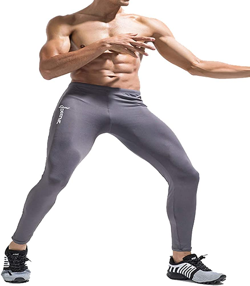 DEENYT Men's Compression Baselayer Pants Nylon Leggings Stretchy Cool Dry Tights