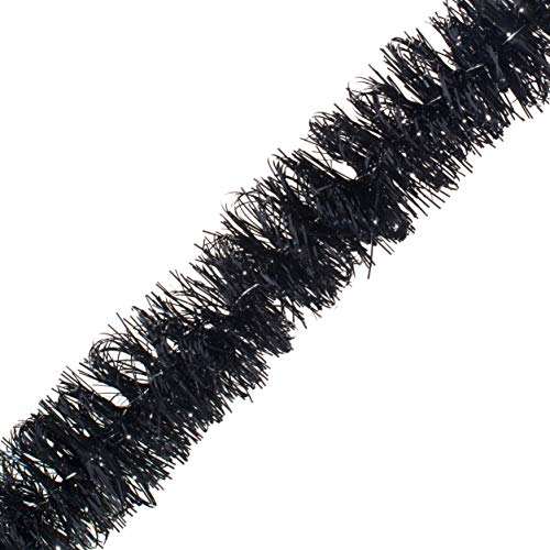 Black Tinsel Garland - 15' Long x 2