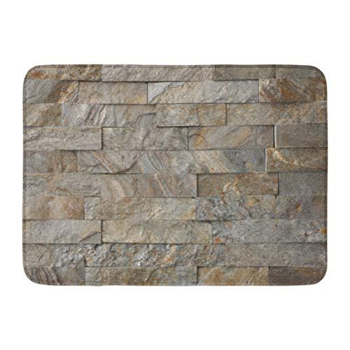 Emvency Bath Mat Thin Beige Cladding Natural Stone Granite Pieces Tiles Walls Orange Slate Ledgestone Bathroom Decor Rug 16