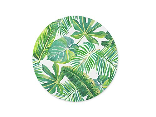 Green palm leaves on the white background Round Mouse pad Customized Non Slip Rubber Round Mouse pad Non Slip Rubber Mouse pad Gaming Mouse Pad (Colormouse Pads)