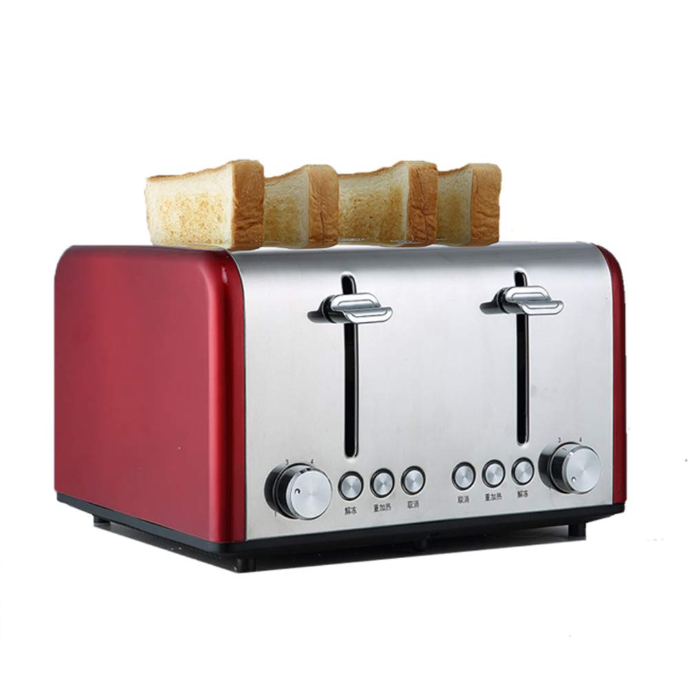 4-Slice Toaster, Household Automatic, Breakfast Bread Machine, Stainless Steel Toaster, Drop-Down Crumb Tray, Wide Slot-Red LJ-MBJ
