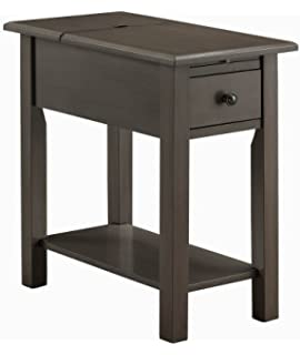 Sutton Side Table With Charging Station In Brushed Gray