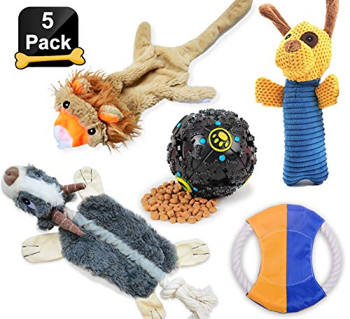 LOOBANI Dog Toys 5 Set丨 Plush Squeaky Toy Stuffed, Durable Knot Chew Toys, Cotton Rope Frisbee, Dispenses Treat Ball Assortment for Small and Medium Dog … (5 Pack)