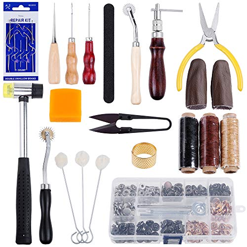 Anpro Leather Sewing Tools Kit- 27 Pieces Leather Tools- and 80 Set Snap Fasteners kit Leather Craft Basic Tools DIY Hand Stitching Kit,Leather Basic Tools for Beginner (27 pcs)