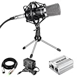 Neewer Professional Desktop Condenser Microphone Kit with Mic Shock Mount,48V Phantom Power Supply(Silver),XLR 3 Pin Cable,Iron Mini Tripod for Home Studio Sound Recording, Podcasting, Online Chatting