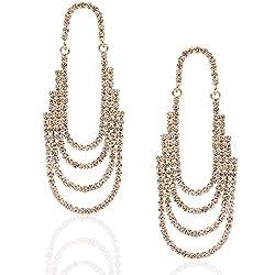 Oval Hoop Gold-Tone Simulated Diamond Earring