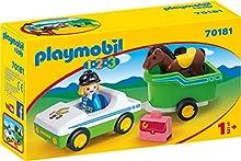 PLAYMOBIL 1.2.3 Coche Remolque Caballo, Color carbón (70181)