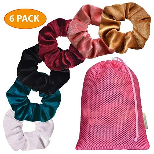 ONZOLO Velvet Scrunchies For Hair - Hair Accessories For Women and Girls, Hair Ties for Thick Hair, Velvet Scrunchie, Hair Bands, Womens Hair Elastics, Little Girl Hair Accessories, Headband (6 pack)