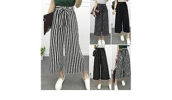 822c421ce6 Amazon.com  MTOFAGF Summer Women High Waist Loose Ninth Trousers Fashion  Elastic Striped Culotte Pants Harem Pants MTOFAGF Brings You The Best  (Color ...
