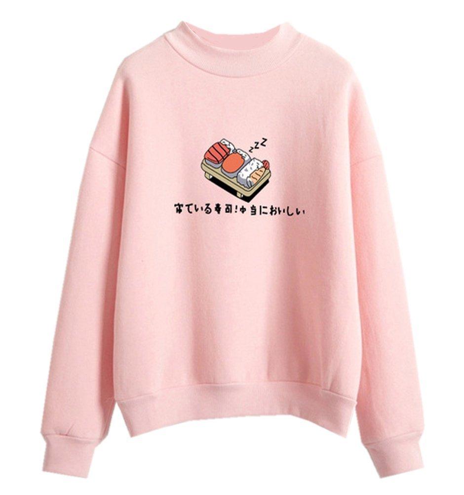 Harajuku Pastel Sweater Japanese Sushi Cartoon Tumblr Shirts for Teen Girls,Pink