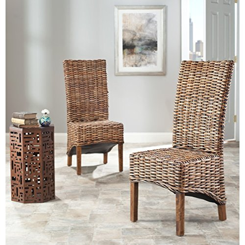 Safavieh Home Collection Isla Brown Dining Chair (Set of 2) (High Back Rattan Chairs)