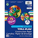 Tru-Ray PAC6588 Construction Paper Bulk Assortment, 10 Assorted Colors, 9'' x 12'', 500 Sheets