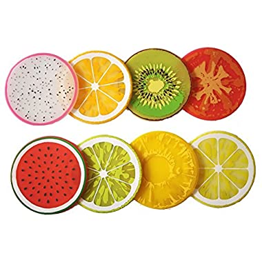 PHT Silicone Fruit Slice All-weather Drink Coasters 2015 edition, 3.5 , Set of 8 Kiwi, Orange, Lemon, Lime, Dragon-Fruit, Water-Melon, Tomato, and pineapple