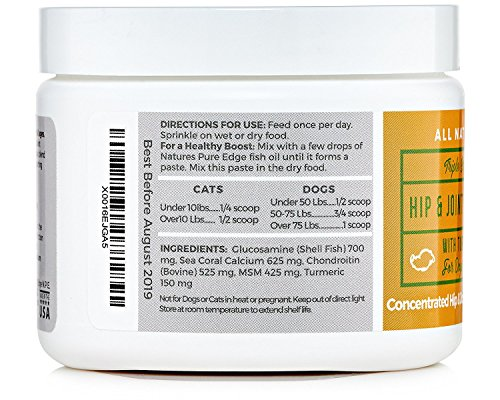 POWERFUL PET HIP & JOINT – with ORGANIC TURMERIC – Natural Ingredients – Triple Strength – Chondroitin – Glucosamine – MSM – Organic Sea Coral Calcium