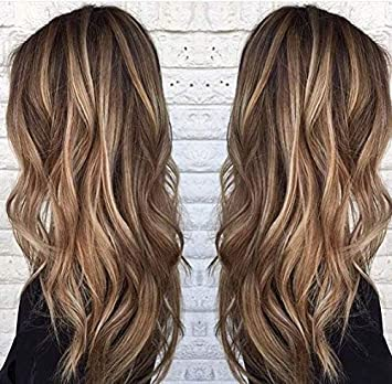 Easyouth 20 U Part Wig Human Hair Straight Balayage 150g Color 4 Middle Brown Fading To 27 Honey Blonde Highlight With 4 Human Hair Wig For Black
