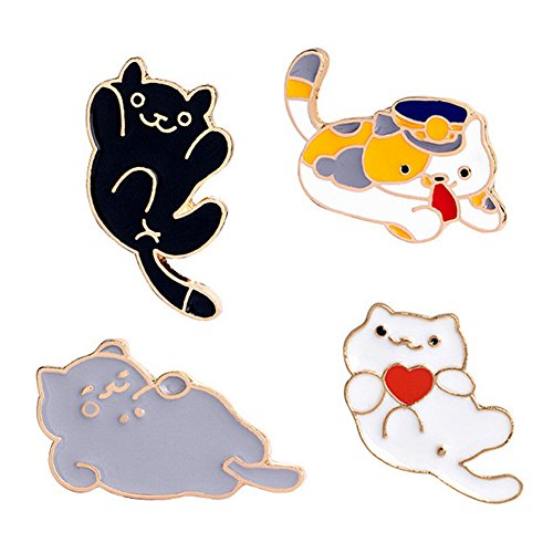 Enamel Cat Pin (SIVITE Cute Cartoon Cats Enamel Brooch Pin Set for Clothes Hat Bag Scarf Corsage Badge Lapel Pin Accessories)