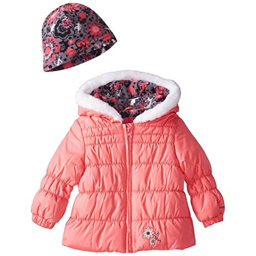 London Fog Little Girls' Chic Puffer Coat with Scarf, Coral, 4