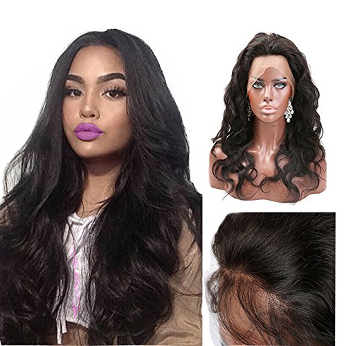 (Greatremy Grade 7A Pre Plucked 360 Lace Frontal Closure Body Wave Brazilian Virgin Hair Natural Color 18inch)
