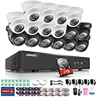 ANNKE 16 Channel Video Security System with 2TB HDD and (16) HD 720P Weatherproof Cameras, Smart search playback, Instant Motion-Activated Email Alert with Captured Snapshots