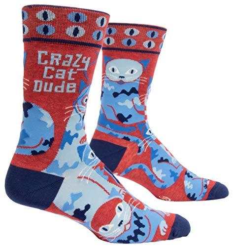 Blue Q Socks, Men's Crew, Crazy Cat Dude, Men's shoe size 7-12