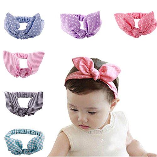 Baby Girl Multicolor Hair Hoops Headbands,Solid Bunny Ears,Bow Headbands(6 PACK)