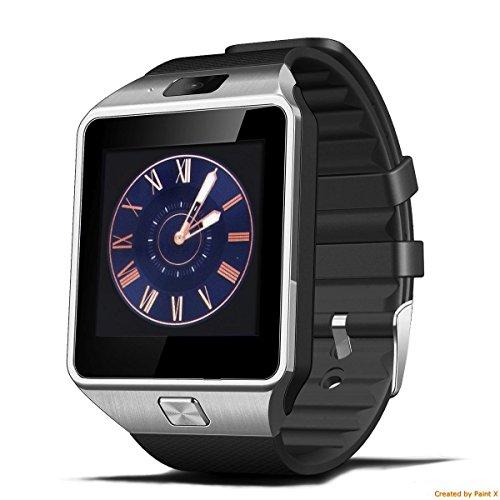 PELTEC@ Bluetooth Smart Watch Armband Uhr für iOS + Android Smartwatch Smartphone SIM Armbanduhr mit Kamera silberfarben