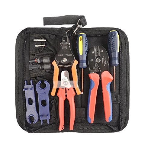 Misc Cable Kit (IWISS MC4 Crimping Tool Kit with Wire Cable Cutter, Stripper, MC4 Spanner and MC4 Connectors Solar PV Panel Tool Kit)