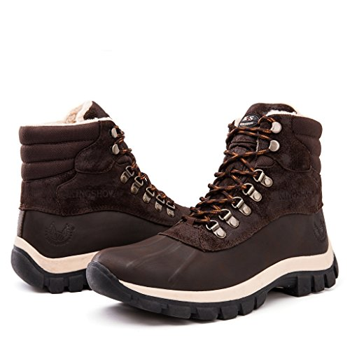 Kingshow Men's 1705 Snow Boots (10 M US Men's, brown)