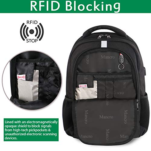 51yHGXg9nfL - College Laptop Backpack,Durable School Bookbags for Men Women with USB Charging Port, Mancro Business Travel Anti Theft RFID Water Resistant Backpack Fits 15.6 Inch Laptop and Notebook, Black