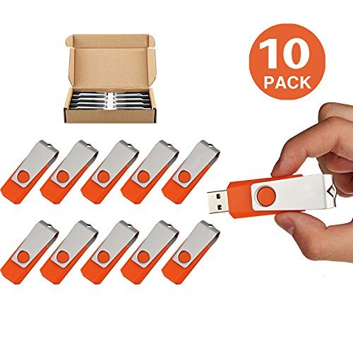 TOPSELL 10 Pack 16GB Bulk USB Flash Drive USB Thumb Drive Memory Stick Fold Data Storage Pen Swivel Design JumpDrive (16G, 10PCS, Orange) by TOPESEL