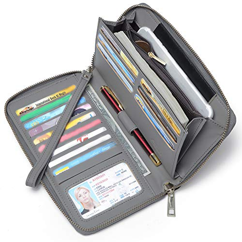 Women Wallet Large Capacity Leather Zipper Around Clutch Card Holder Organizer Ladies Travel Purse with Removable Wristlet Strap Gray (Wristlet Wallet)