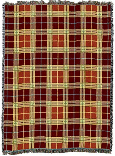 (Pure Country Weavers | Woods Plaid Woven Tapestry Throw Blanket with Fringe Cotton USA 72x54)