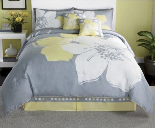 Amazon.com: 15 Pieces MARISOL Yellow Grey White Comforter Bed in a
