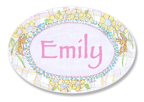 (The Kids Room by Stupell Emily, Bunnies Playing with Flowers Personalized Oval Wall)