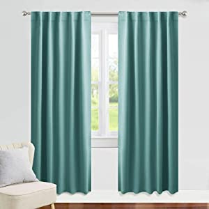 PONY DANCE Curtains Blackout Long - 42 x 84 Inches Sea Teal Thermal Insulated Window Treatments Home Decor Light Block Curtain Draperies Energy Efficient for Living Room, 2 Panels