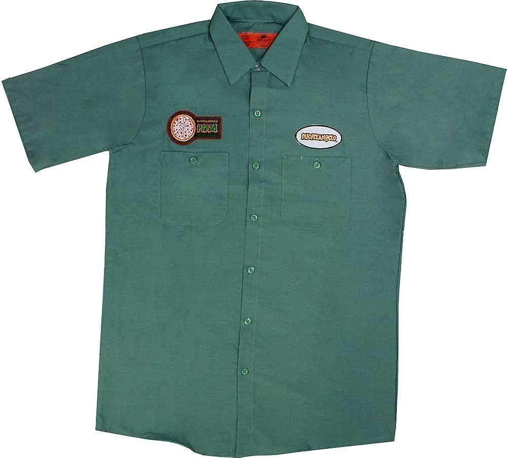 Teenage Mutant Ninja Turtles Michelangelo Pizza Delivery Men's Green Work Shirt