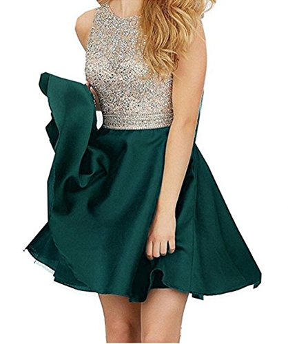 TANGFUTI Beading Short Prom Dresses Open Back Satin Homecoming Dresses 107AQ-US8 - Aqua Dress Juniors